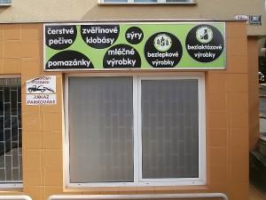 Polep prodejny Ráj lahůdek v Brně
